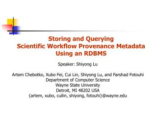 Storing and Querying  Scientific Workflow Provenance Metadata Using an RDBMS