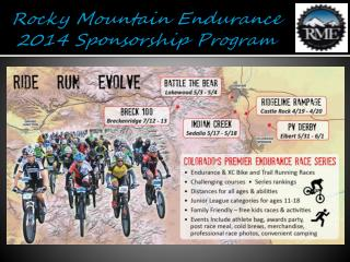 Rocky Mountain Endurance 2014 Sponsorship Program