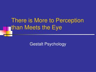 There is More to Perception than Meets the Eye