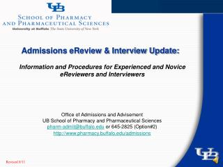 Admissions eReview & Interview Update: