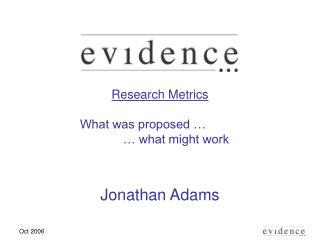 Research Metrics What was proposed …		 	… what might work Jonathan Adams