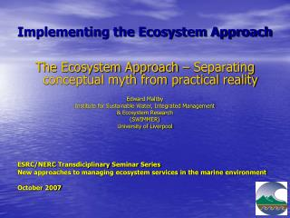Implementing the Ecosystem Approach