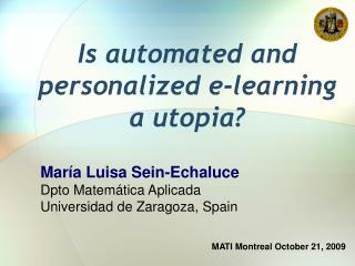 Is automated and personalized e-learning  a utopia?