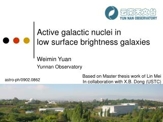 Active galactic nuclei in  low surface brightness galaxies