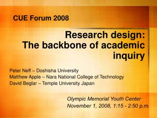 Research design:  The backbone of academic inquiry