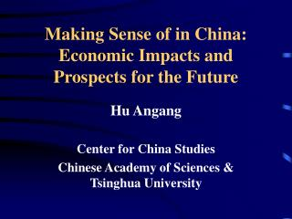 Making Sense of in China: Economic Impacts and Prospects for the Future