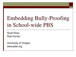 Embedding Bully-Proofing in School-wide PBS