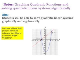 Notes:  Graphing Quadratic Functions and solving quadratic linear systems algebraically