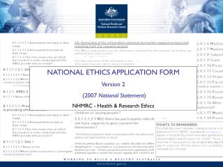 NATIONAL ETHICS APPLICATION FORM Version 2  (2007  National Statement )