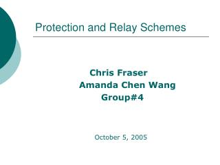 Protection and Relay Schemes