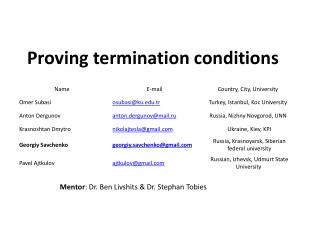 Proving termination conditions