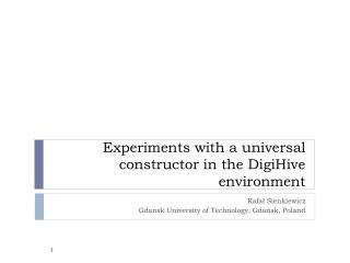 Experiments with  a  universal constructor in the DigiHive  environment