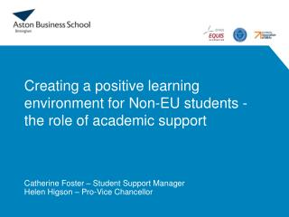 Creating a positive learning environment for Non-EU students - the role of academic support