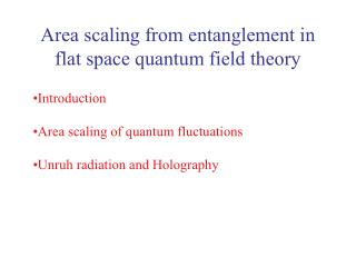 Area scaling from entanglement in flat space quantum field theory