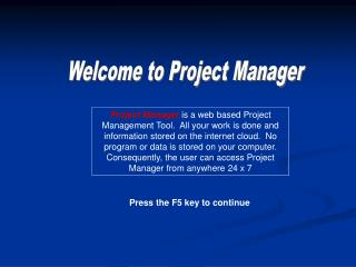 Welcome to Project Manager
