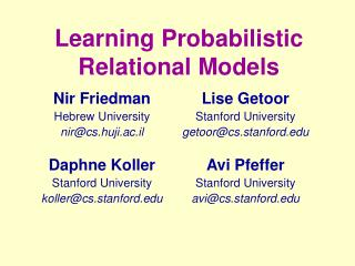 Learning Probabilistic Relational Models