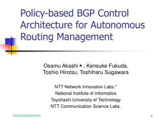 Policy-based BGP Control Architecture for Autonomous Routing Management