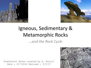 Igneous, Sedimentary & Metamorphic Rocks