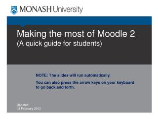 Making the most of Moodle 2 (A quick guide for students)