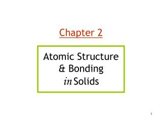 Chapter 2 Atomic Structure  &  Bonding in Solids