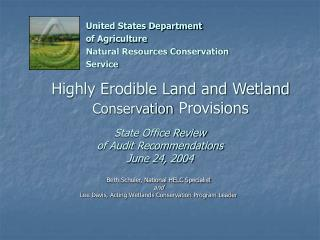 Highly Erodible Land and Wetland  Conservation  Provisions