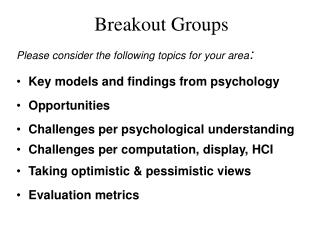 Breakout Groups