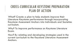 Cross-Curricular Keystone Preparation Plan of Action