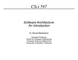 Software Architecture: An Introduction