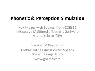 Phonetic & Perception Simulation