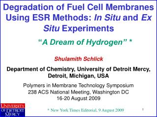 Degradation of Fuel Cell Membranes Using ESR Methods:  In Situ  and  Ex Situ  Experiments