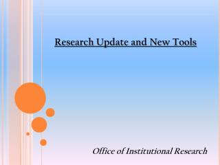 Research Update and New Tools