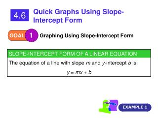 SLOPE-INTERCEPT FORM OF A LINEAR EQUATION