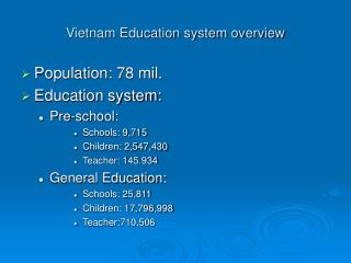Vietnam Education system overview