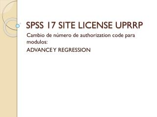 SPSS 17 SITE LICENSE UPRRP