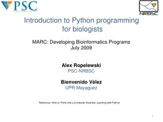 Introduction to Python programming  for biologists