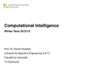 Computational Intelligence Winter Term 2012/13