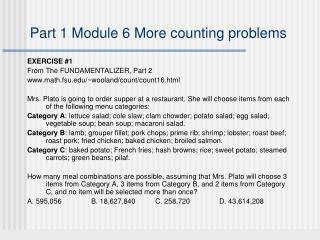 Part 1 Module 6 More counting problems