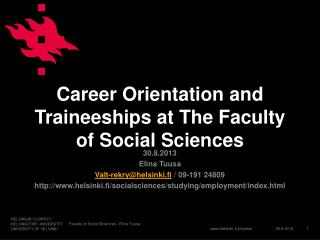 Career Orientation and Traineeships at The Faculty of Social Sciences