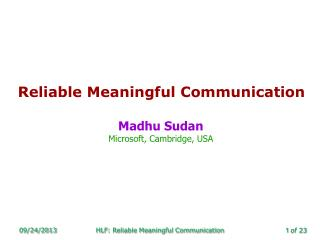 Reliable Meaningful Communication