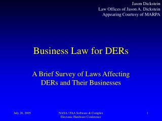 Business Law for DERs