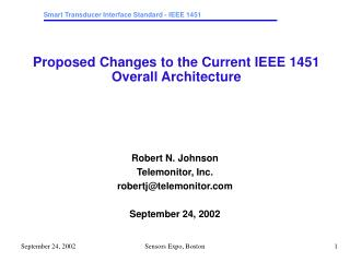 Proposed Changes to the Current IEEE 1451 Overall Architecture