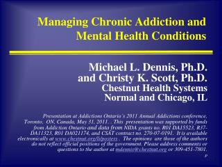 Managing Chronic Addiction and Mental Health Conditions