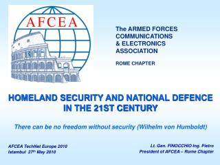 Lt. Gen. FINOCCHIO Ing. Pietro President of AFCEA – Rome Chapter
