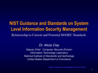 NIST Guidance and Standards on System Level Information Security Management