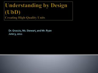 Understanding  by  Design  ( UbD ) Creating High-Quality Units