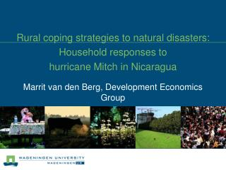 Rural coping strategies to natural disasters: Household responses to  hurricane Mitch in Nicaragua