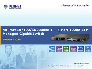 48-Port 10/100/1000Base-T + 4-Port 1000X SFP Managed Gigabit Switch