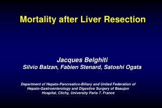 Mortality after Liver Resection