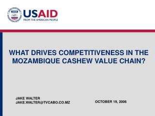 WHAT DRIVES COMPETITIVENESS IN THE MOZAMBIQUE CASHEW VALUE CHAIN?