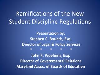 Ramifications of the New Student Discipline Regulations